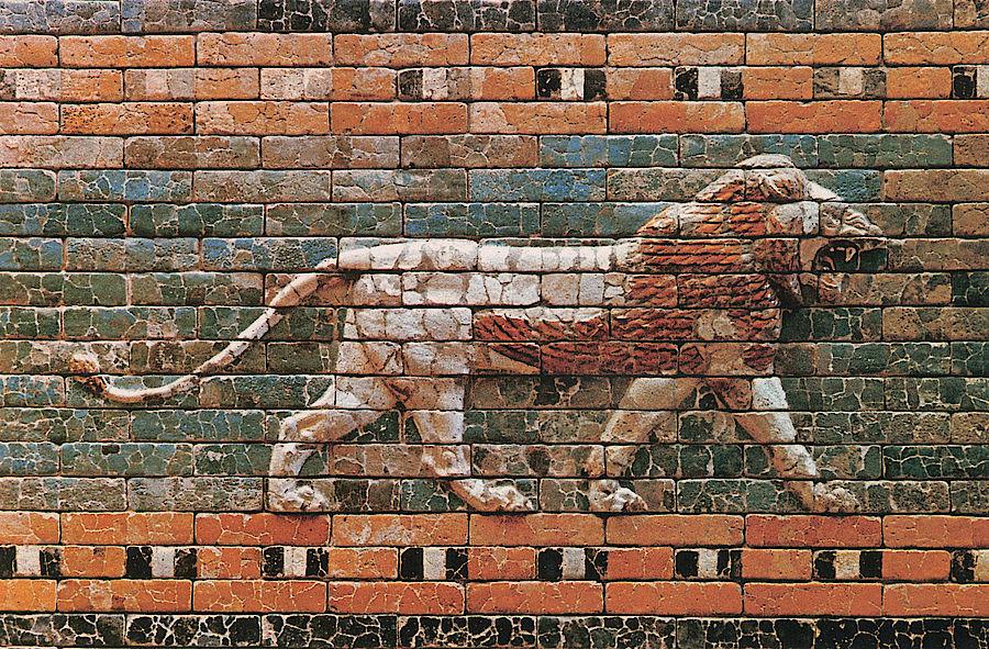 Glasurziegelrelief aus Babylon (Irak) (ca. 600 v. Chr.), Ausgrabungen der DOG. Copyright: DOG.