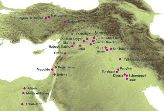 Karte Ausgrabungsorte der Deutschen Orient-Gesellschaft